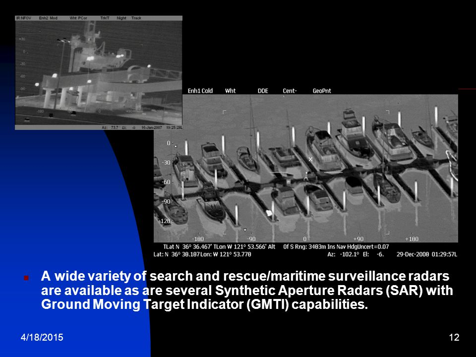 A wide variety of search and rescue/maritime surveillance radars are available as are several Synthetic Aperture Radars (SAR) with Ground Moving Target Indicator (GMTI) capabilities.