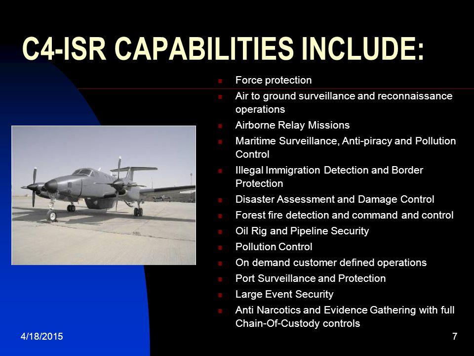 C4-ISR CAPABILITIES INCLUDE: