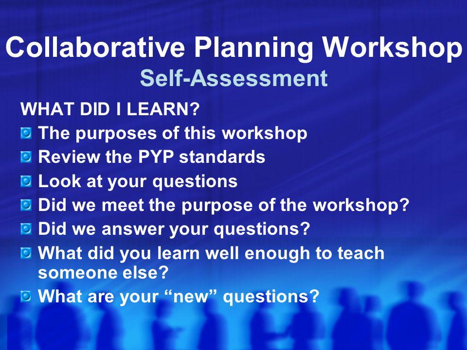 Collaborative Planning Workshop Self-Assessment