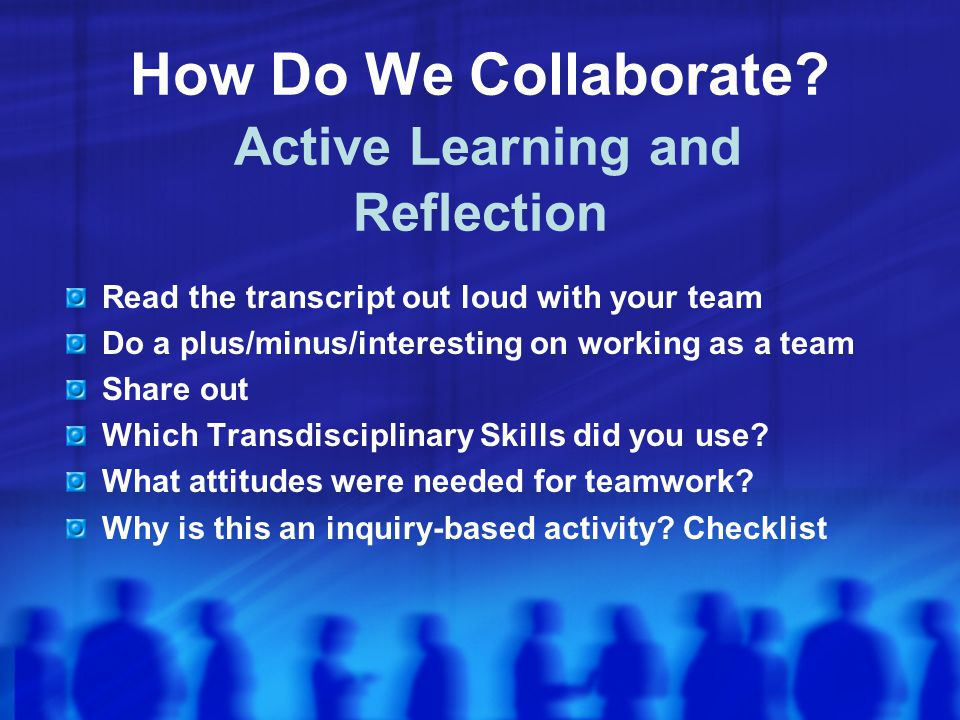 How Do We Collaborate Active Learning and Reflection