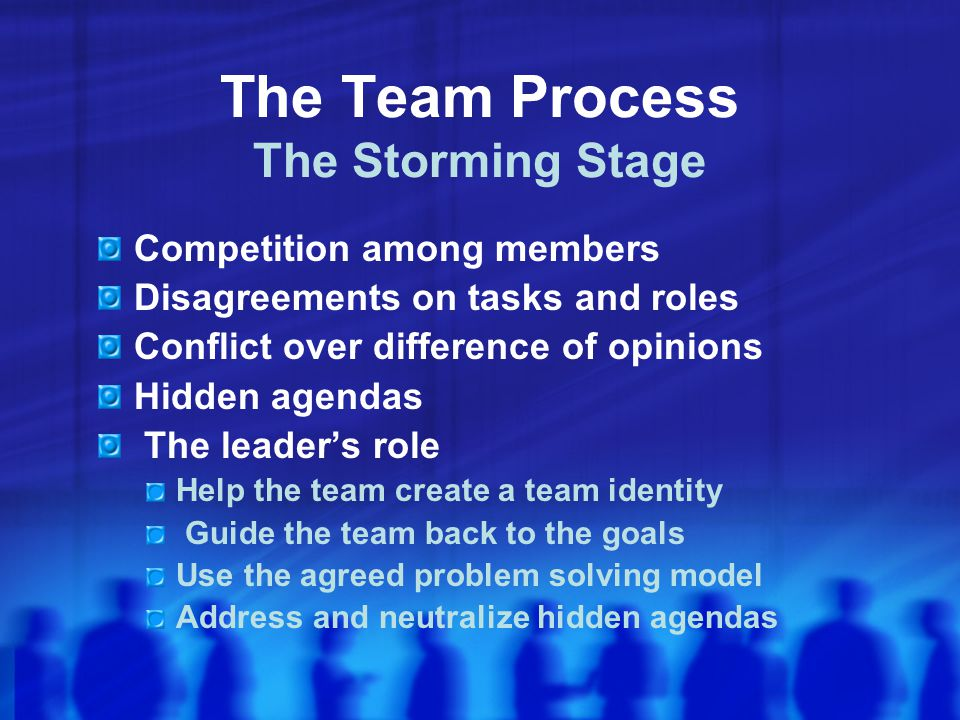 The Team Process The Storming Stage