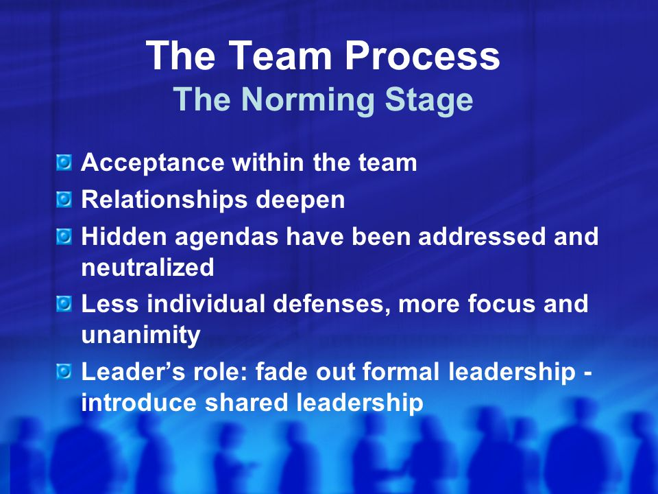 The Team Process The Norming Stage