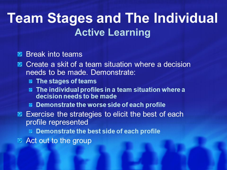 Team Stages and The Individual Active Learning