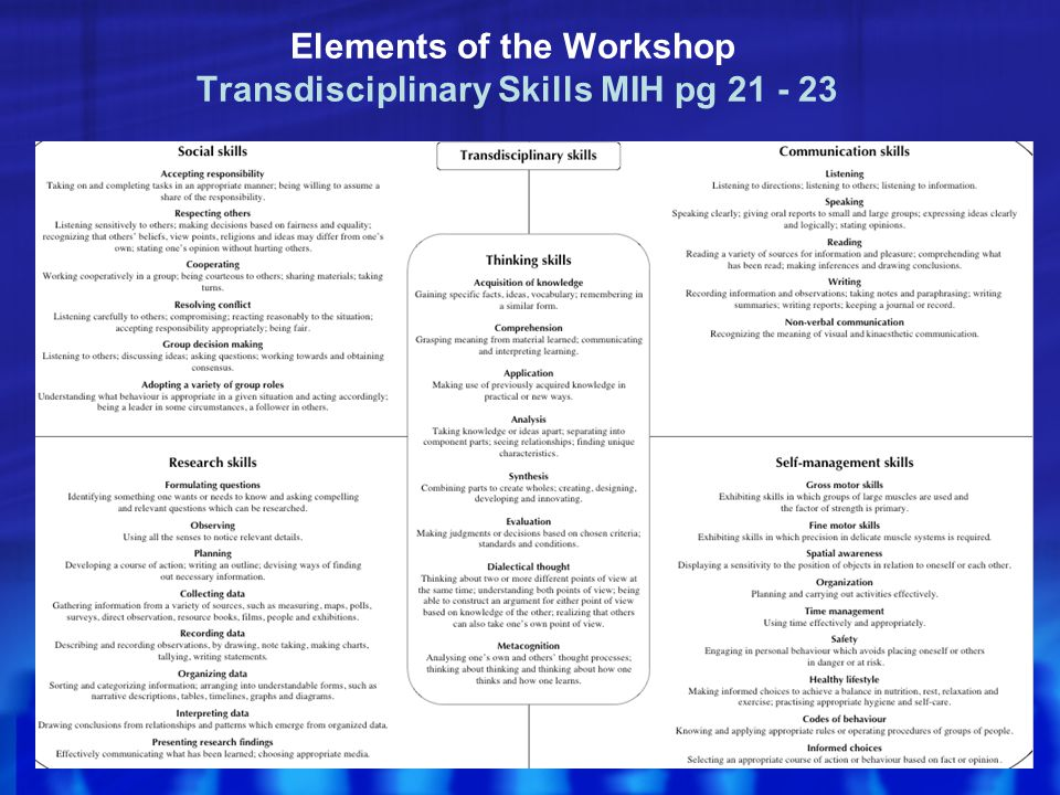 Elements of the Workshop Transdisciplinary Skills MIH pg 21 - 23