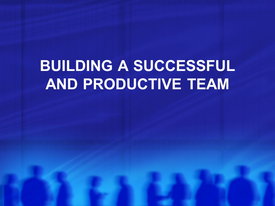 BUILDING A SUCCESSFUL AND PRODUCTIVE TEAM