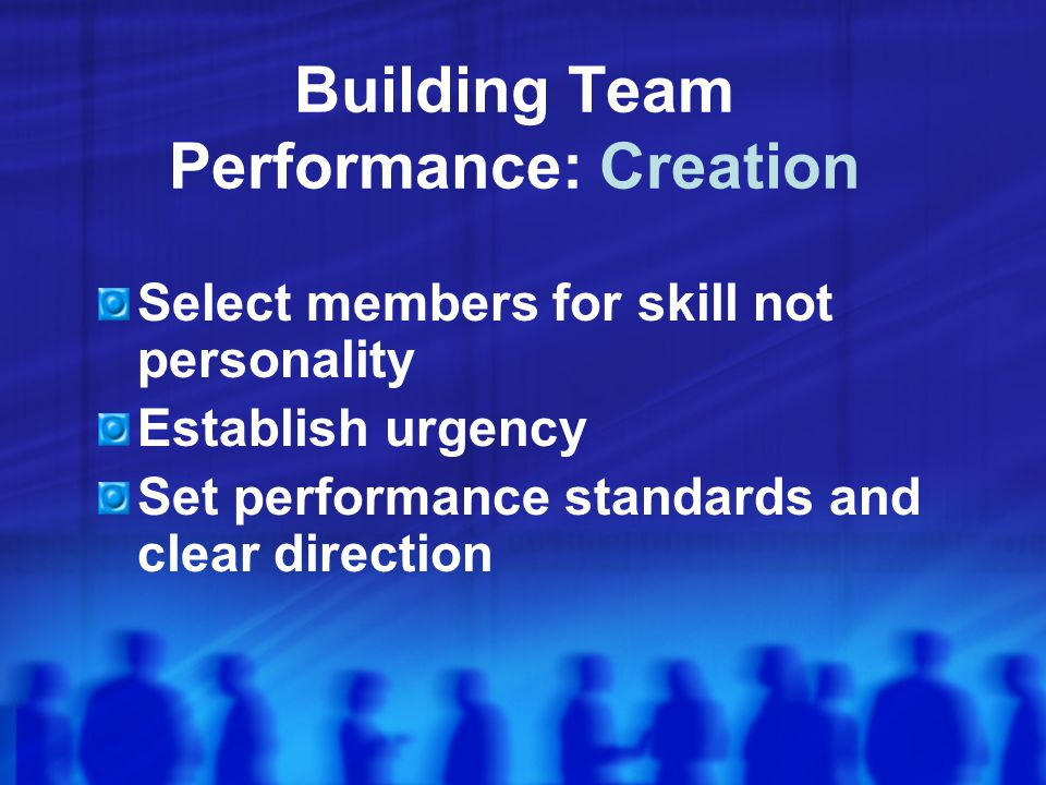 Building Team Performance: Creation