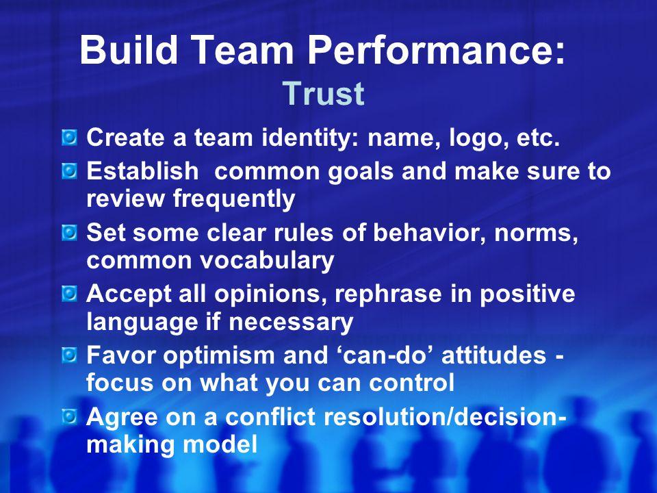 Build Team Performance: Trust
