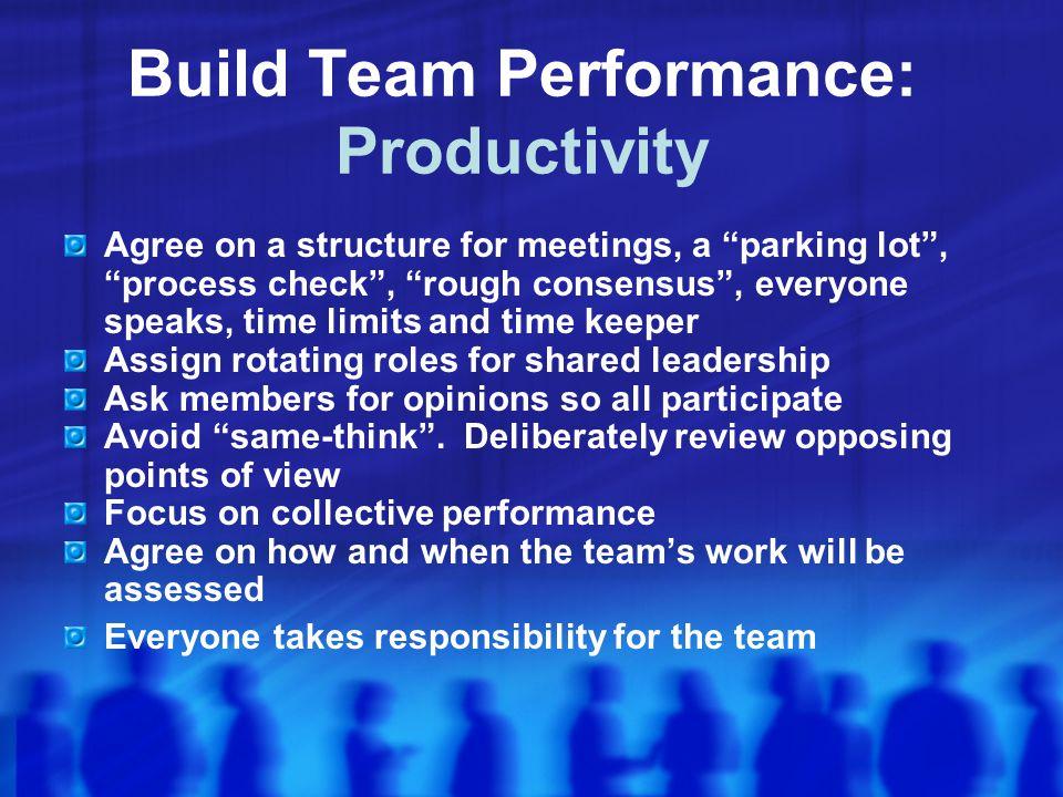Build Team Performance: Productivity
