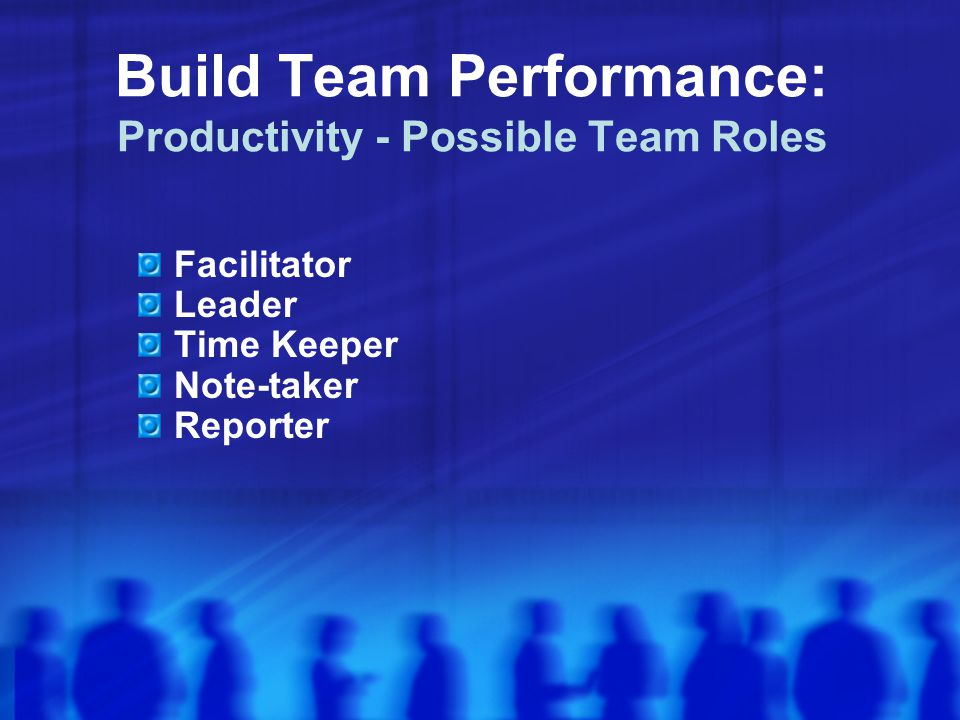 Build Team Performance: Productivity - Possible Team Roles
