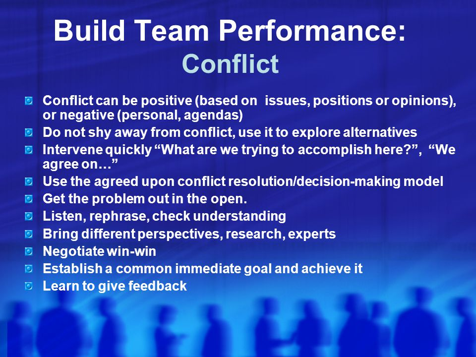 Build Team Performance: Conflict