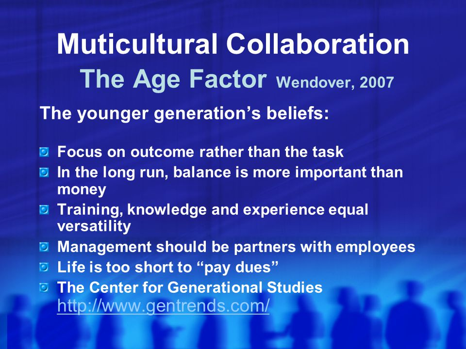 Muticultural Collaboration The Age Factor Wendover, 2007