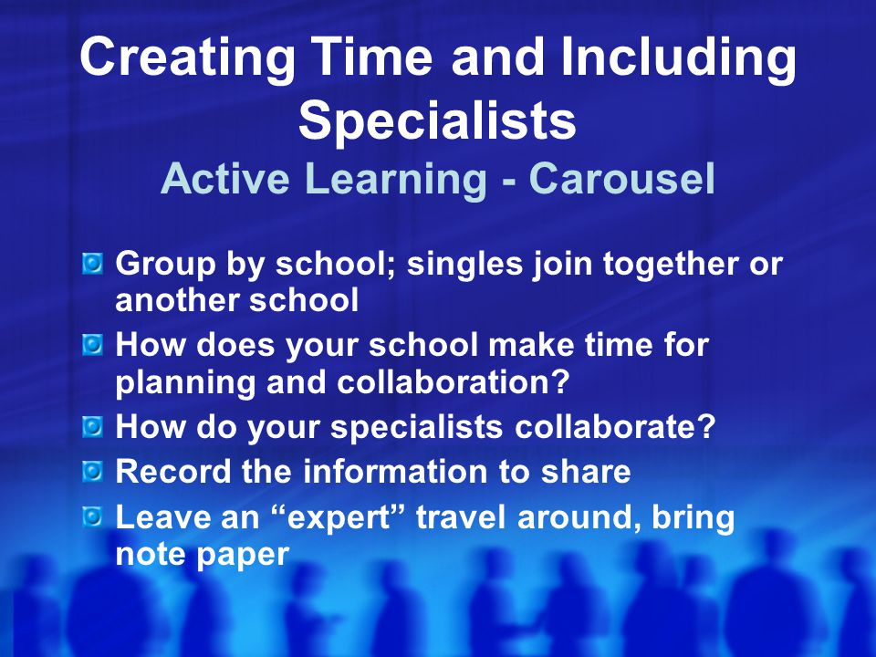 Creating Time and Including Specialists Active Learning - Carousel