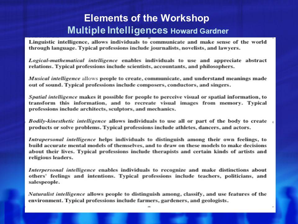 Elements of the Workshop Multiple Intelligences Howard Gardner