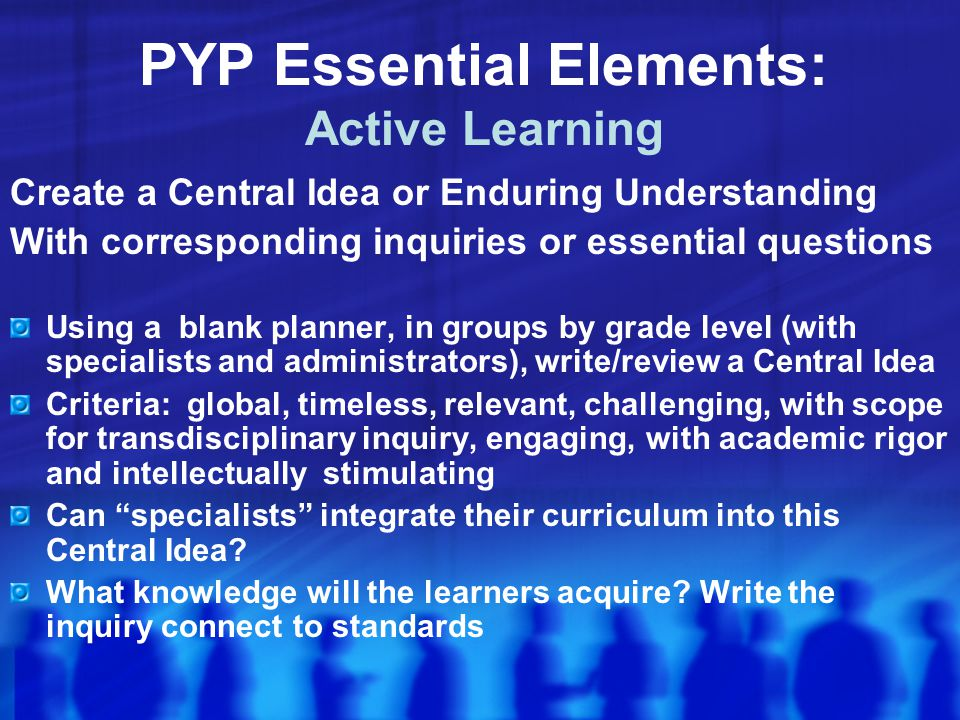 PYP Essential Elements: Active Learning