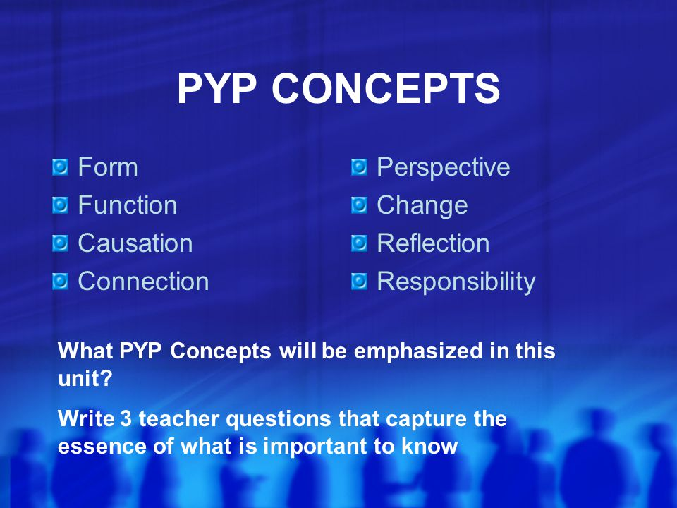 PYP CONCEPTS Form Function Causation Connection Perspective Change