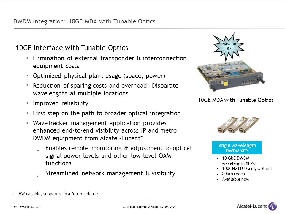 DWDM Integration: 10GE MDA with Tunable Optics