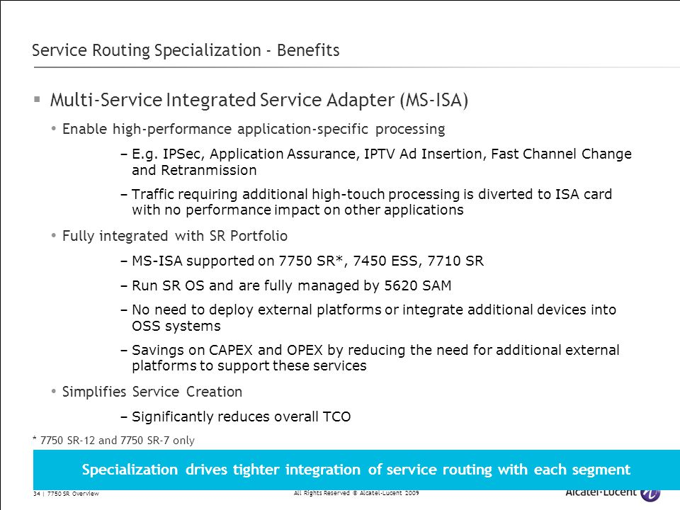Service Routing Specialization - Benefits