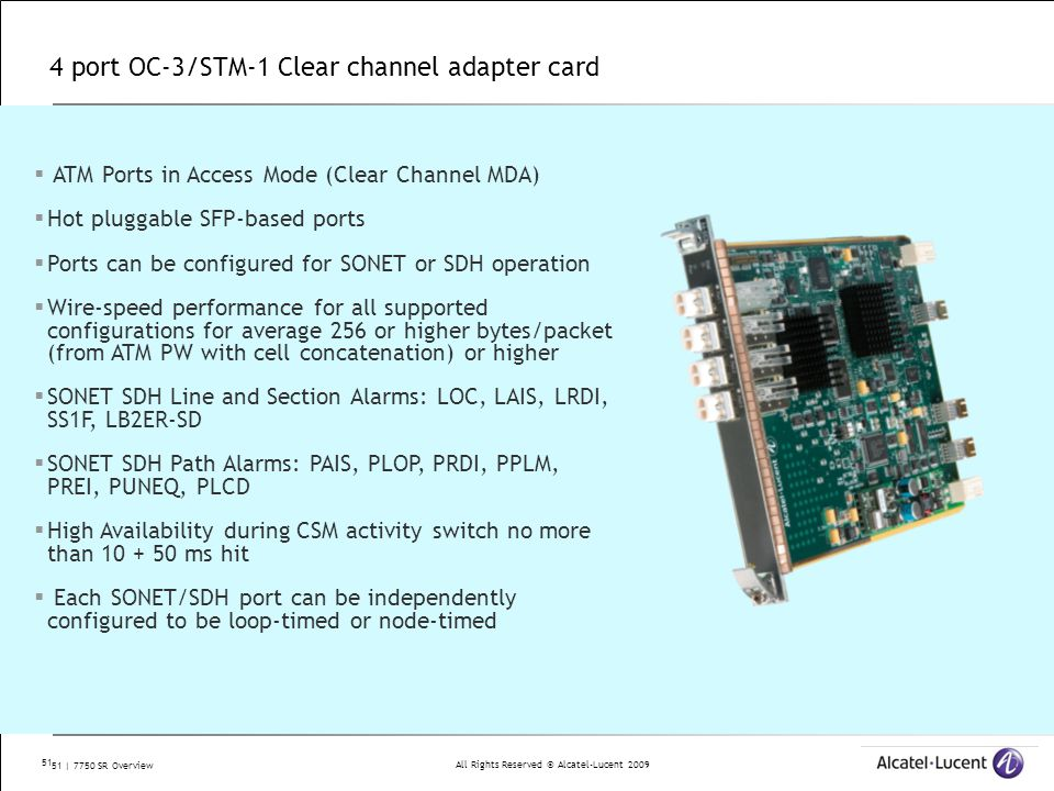 4 port OC-3/STM-1 Clear channel adapter card