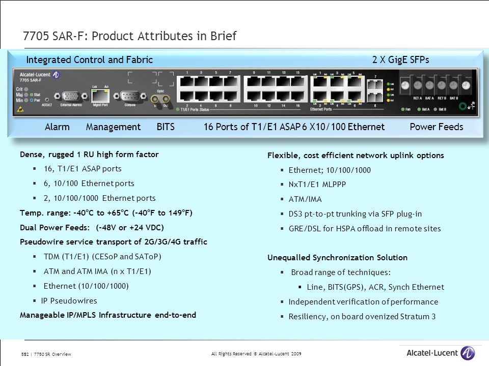 7705 SAR-F: Product Attributes in Brief
