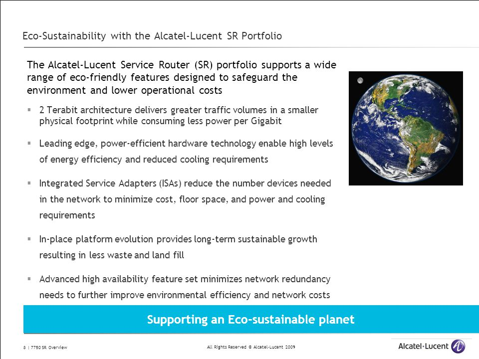 Eco-Sustainability with the Alcatel-Lucent SR Portfolio