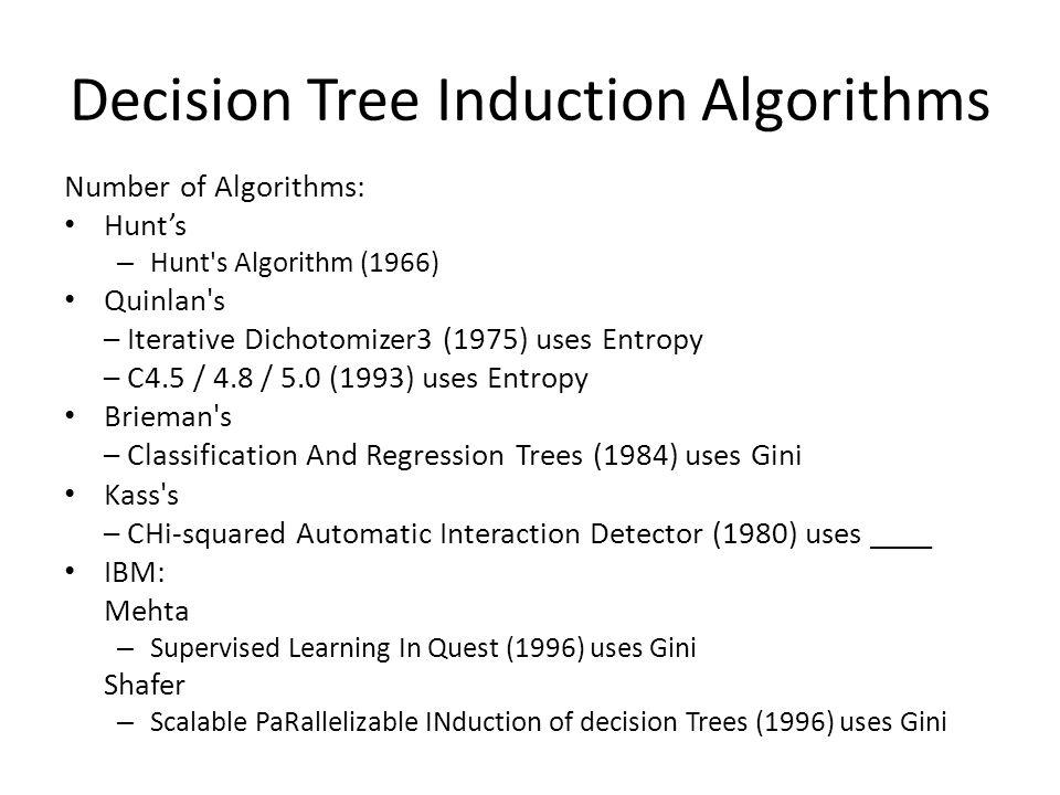 Decision Tree Induction Algorithms