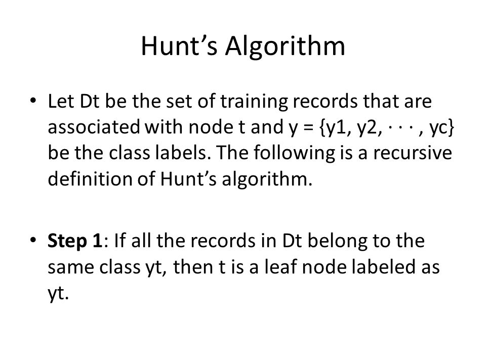 Hunt's Algorithm