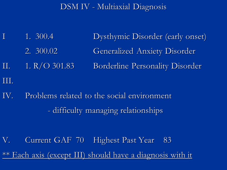 DSM IV - Multiaxial Diagnosis