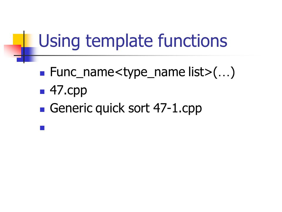Using template functions