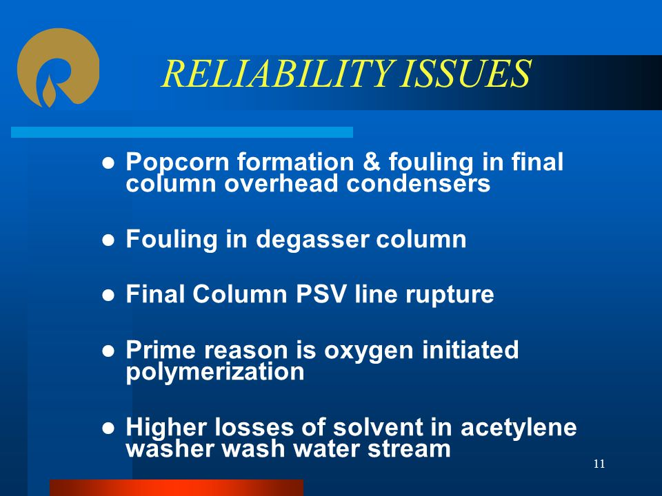 RELIABILITY ISSUES Popcorn formation & fouling in final column overhead condensers. Fouling in degasser column.