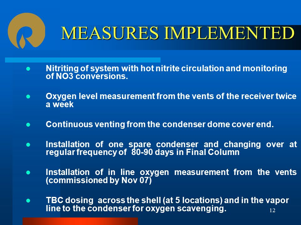 MEASURES IMPLEMENTED Nitriting of system with hot nitrite circulation and monitoring of NO3 conversions.