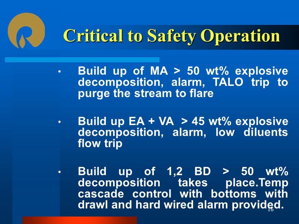 Critical to Safety Operation