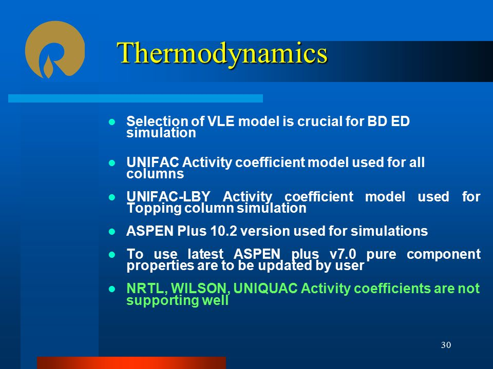 Thermodynamics Selection of VLE model is crucial for BD ED simulation