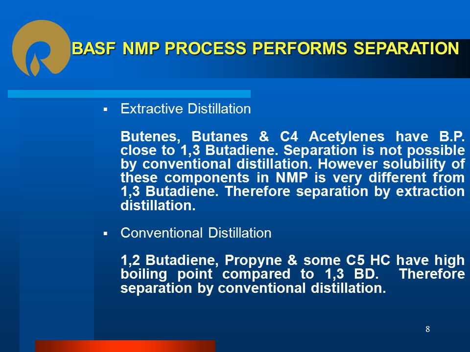 BASF NMP PROCESS PERFORMS SEPARATION