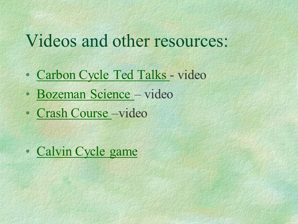 Videos and other resources: