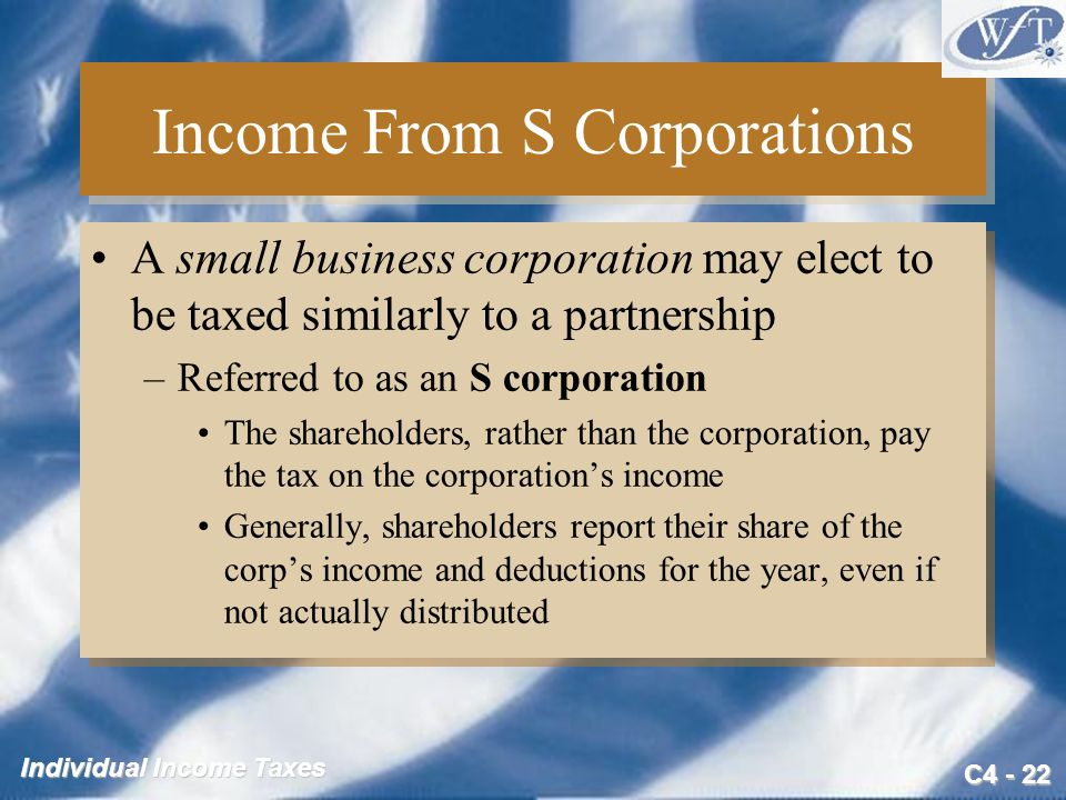 Income From S Corporations