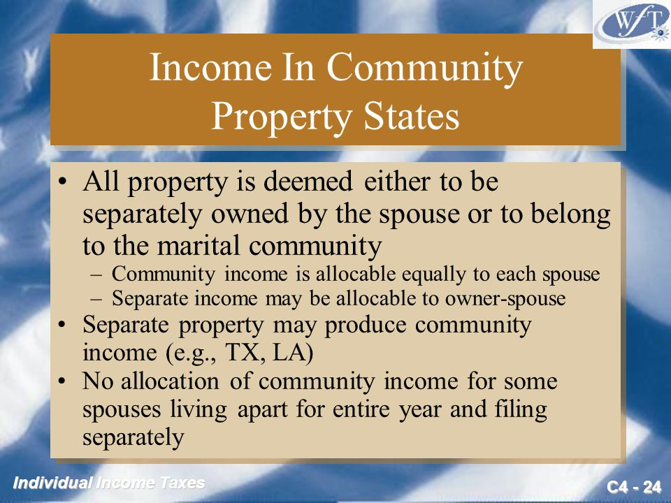 Income In Community Property States