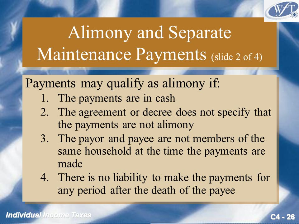 Alimony and Separate Maintenance Payments (slide 2 of 4)