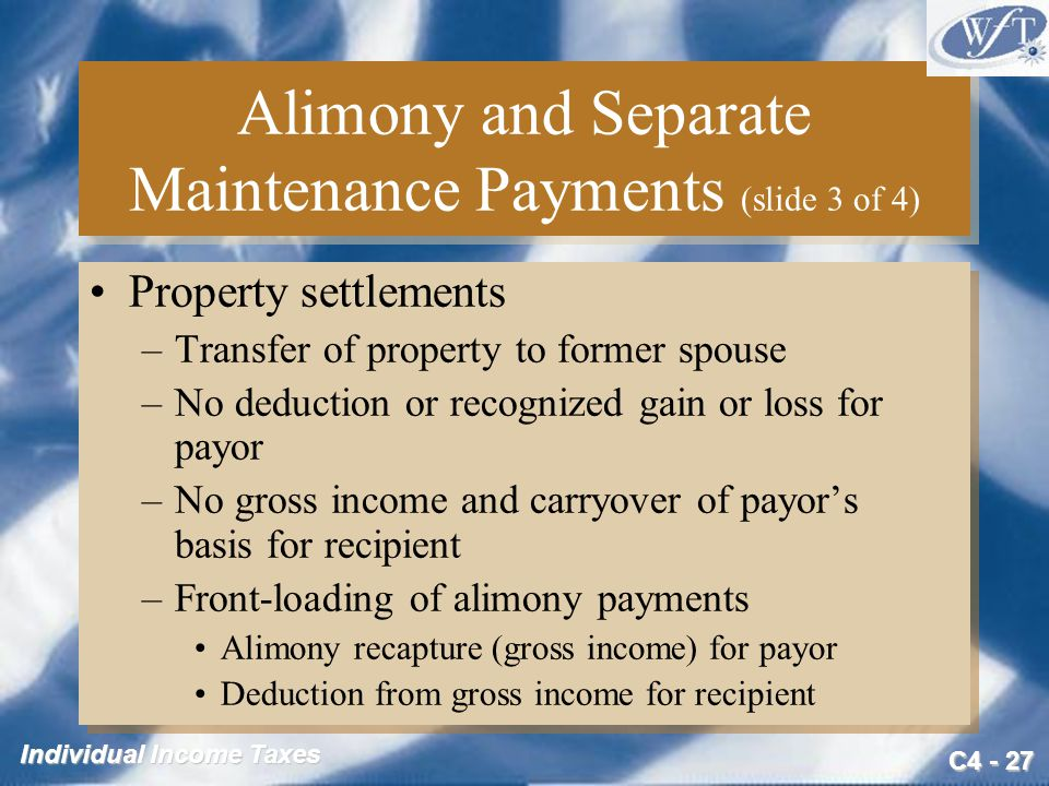 Alimony and Separate Maintenance Payments (slide 3 of 4)