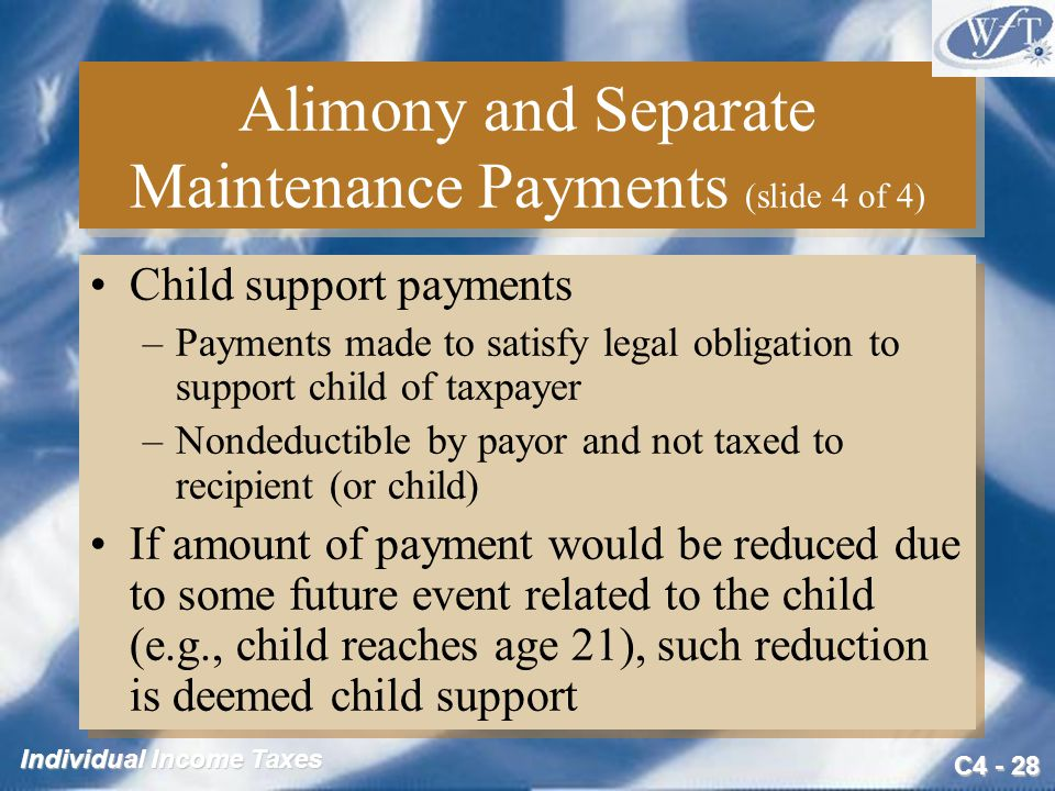 Alimony and Separate Maintenance Payments (slide 4 of 4)