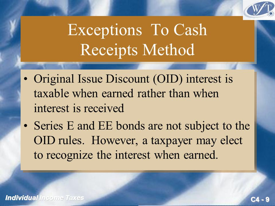 Exceptions To Cash Receipts Method