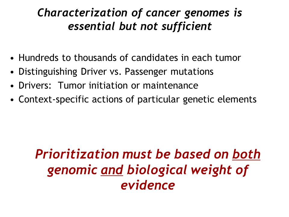 Characterization of cancer genomes is essential but not sufficient