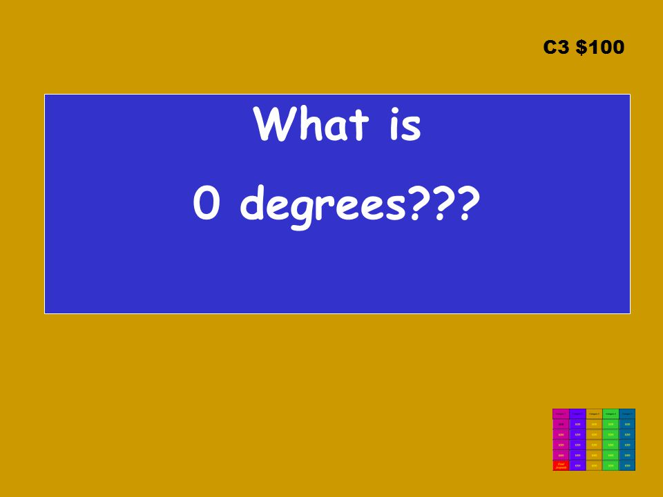 C3 $100 What is 0 degrees