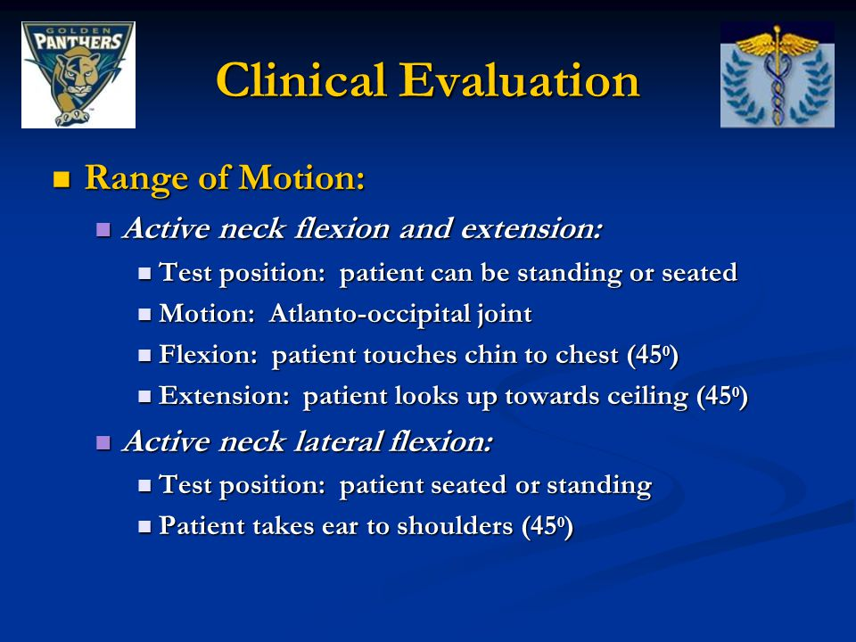 Clinical Evaluation Range of Motion: