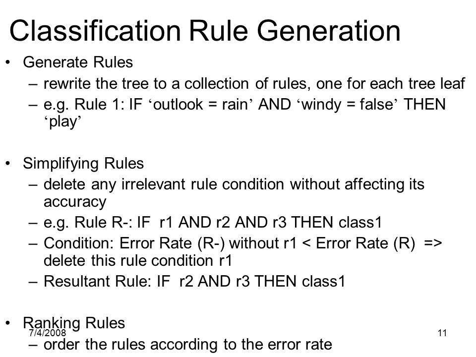Classification Rule Generation