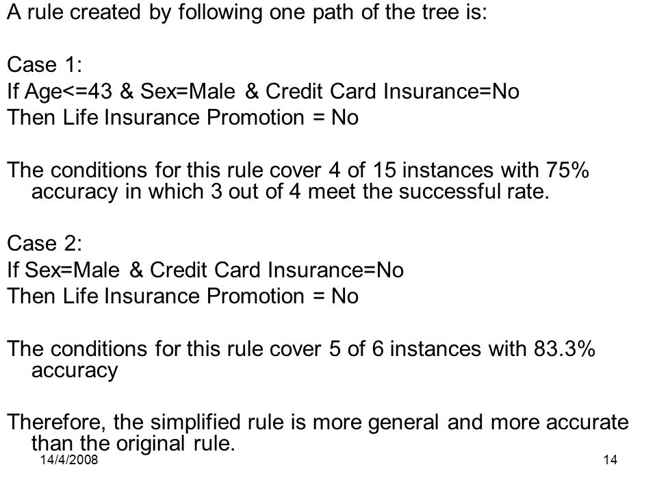 A rule created by following one path of the tree is: Case 1:
