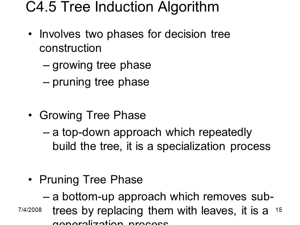 C4.5 Tree Induction Algorithm