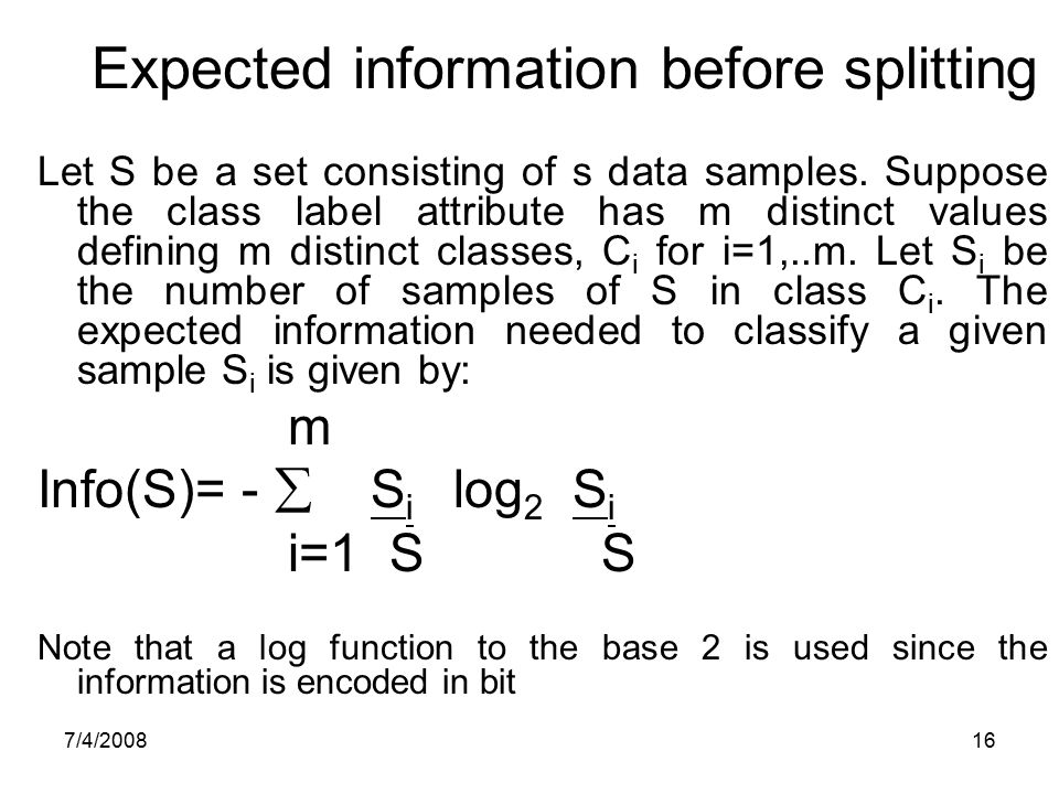 Expected information before splitting