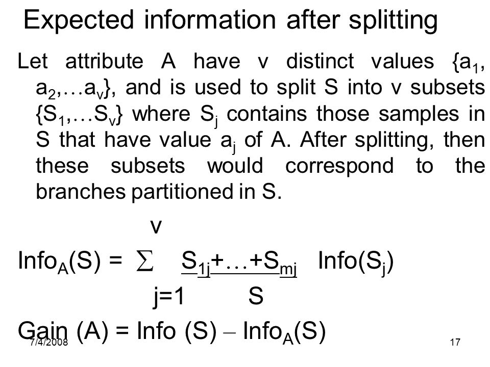 Expected information after splitting