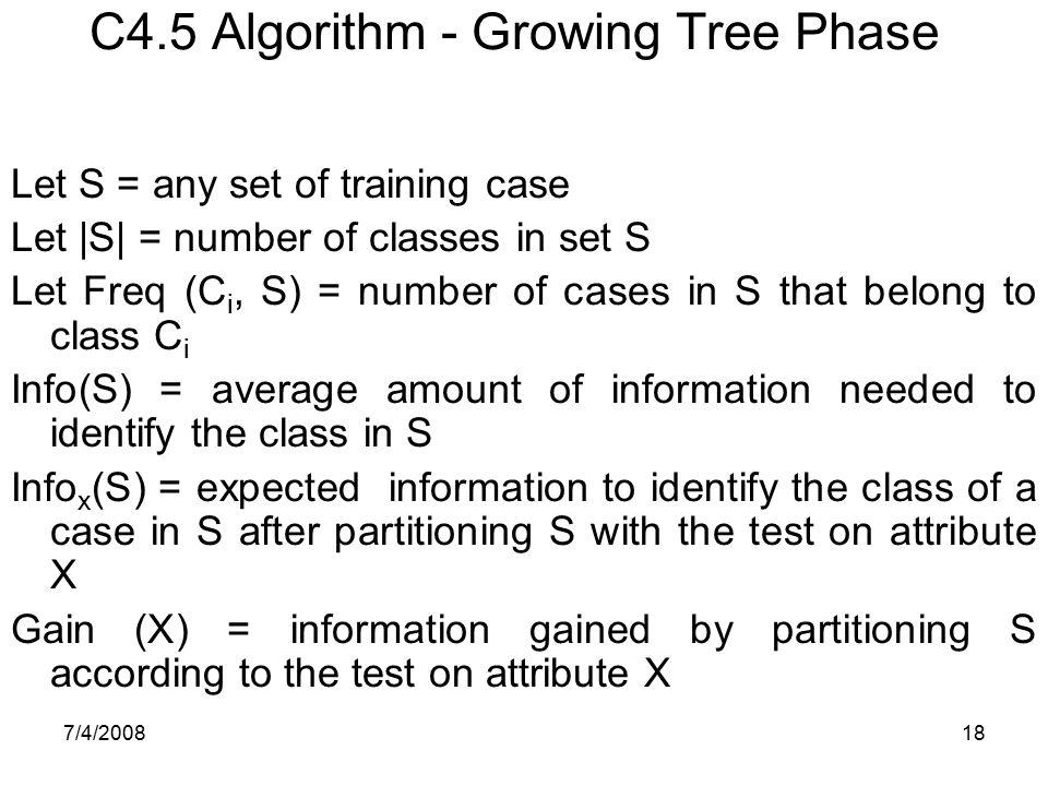 C4.5 Algorithm - Growing Tree Phase