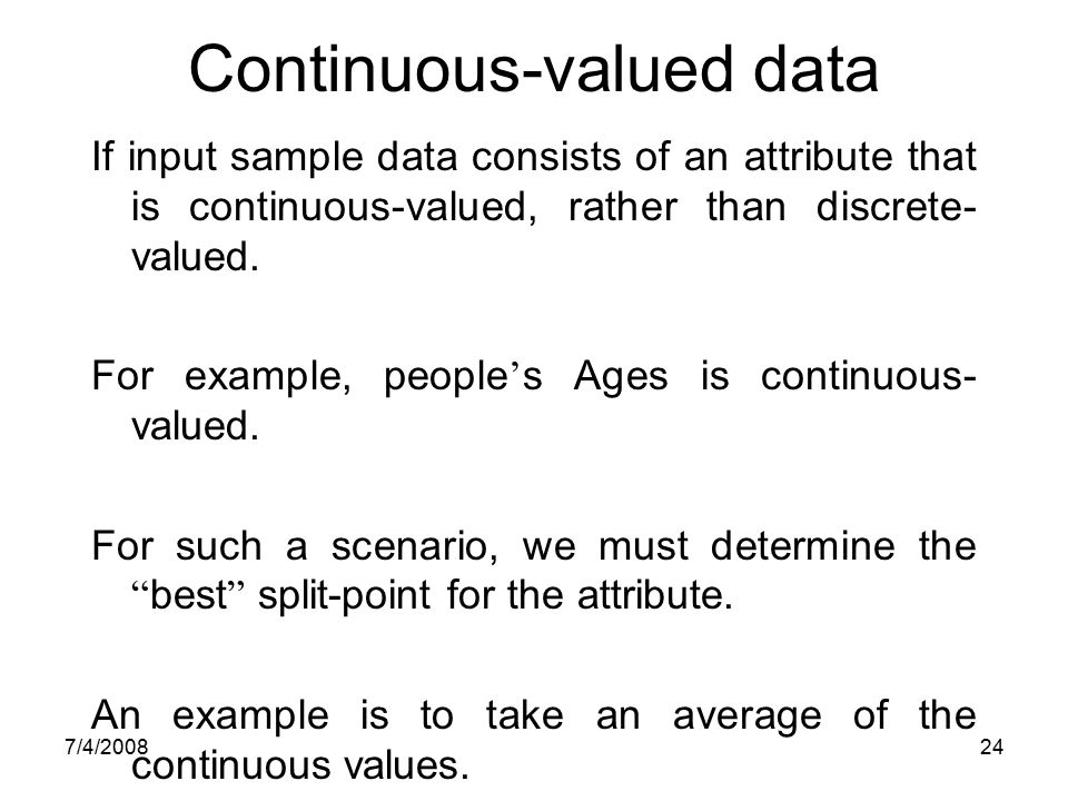 Continuous-valued data